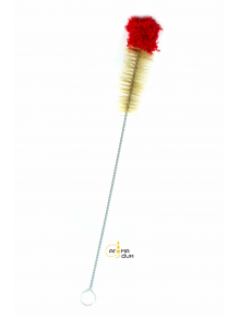 Щетка для колбы Kaya Cleaning Brush with Woolen Top, 50cm red/ecru - фото №1 Аромадим