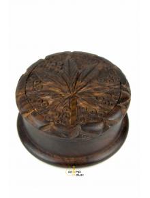Гриндер деревянный Carved Leaf из 2 частей D:52 mm - фото №1 Аромадим